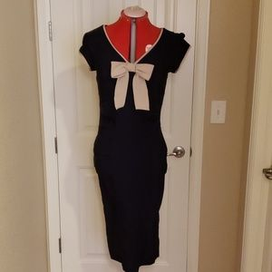Vintage Inspited Navy Bodycon